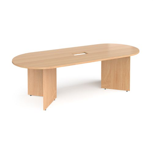 Arrow head leg radial end boardroom table 2400mm x 1000mm with central cutout 272mm x 132mm - beech