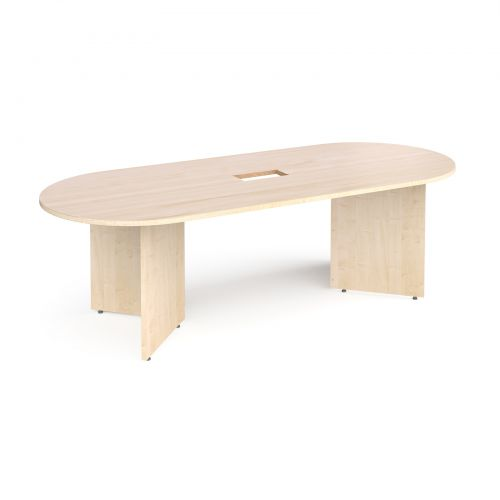 Arrow head leg radial end boardroom table 2400mm x 1000mm with central cutout 272mm x 132mm - maple