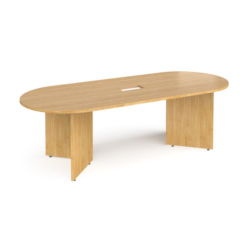 Arrow head leg radial end boardroom table 2400mm x 1000mm with central cutout 272mm x 132mm - oak