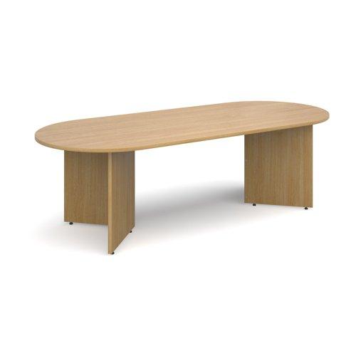 Arrow head leg radial end boardroom table 2400mm x 1000mm - oak