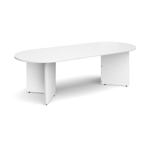 Arrow head leg radial end boardroom table 2400mm x 1000mm - white