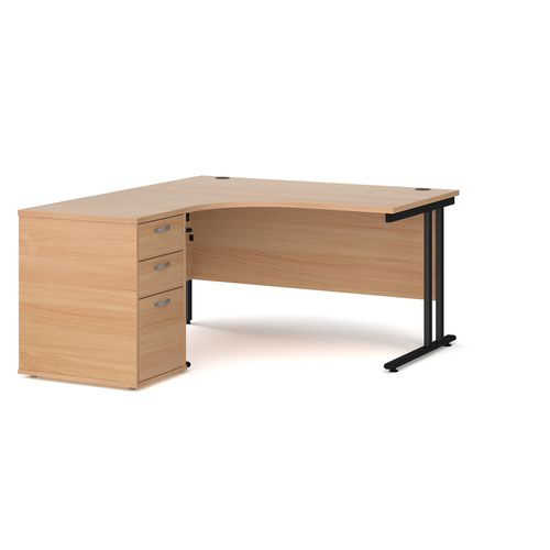 Maestro 25 left hand ergonomic desk 1400mm with black cantilever frame and desk high pedestal - beech