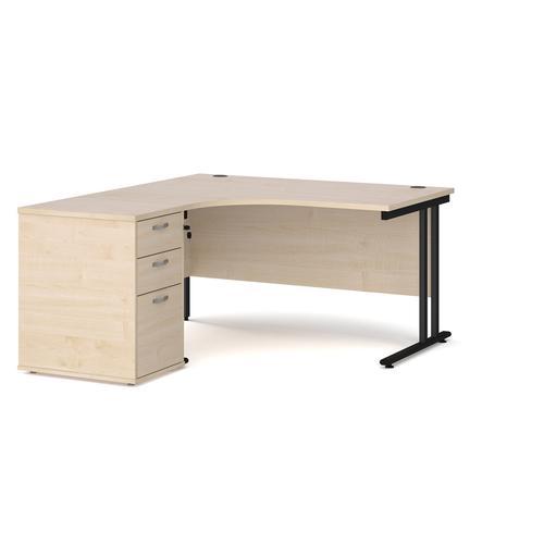 Maestro 25 left hand ergonomic desk 1400mm with black cantilever frame and desk high pedestal - maple