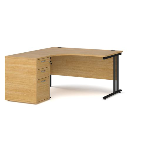 Maestro 25 left hand ergonomic desk 1400mm with black cantilever frame and desk high pedestal - oak