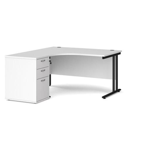 Maestro 25 left hand ergonomic desk 1400mm with black cantilever frame and desk high pedestal - white