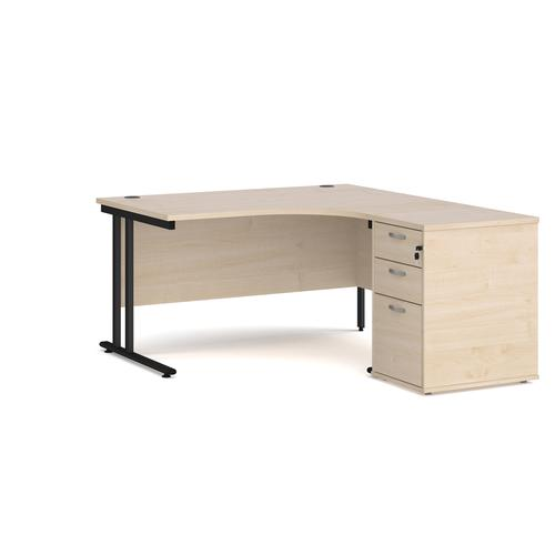 Maestro 25 right hand ergonomic desk 1400mm with black cantilever frame and desk high pedestal - maple