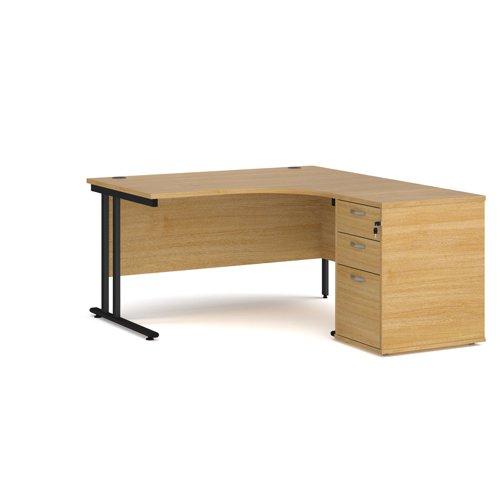 Maestro 25 right hand ergonomic desk 1400mm with black cantilever frame and desk high pedestal - oak
