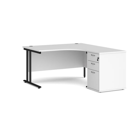 Maestro 25 right hand ergonomic desk 1400mm with black cantilever frame and desk high pedestal - white