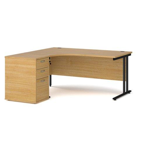 Maestro 25 left hand ergonomic desk 1600mm with black cantilever frame and desk high pedestal - oak