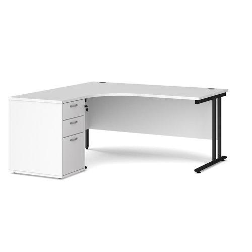 Maestro 25 left hand ergonomic desk 1600mm with black cantilever frame and desk high pedestal - white