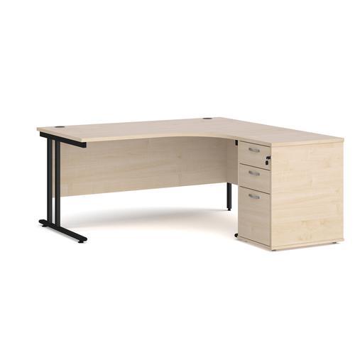 Maestro 25 right hand ergonomic desk 1600mm with black cantilever frame and desk high pedestal - maple