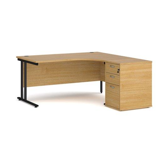 Maestro 25 right hand ergonomic desk 1600mm with black cantilever frame and desk high pedestal - oak