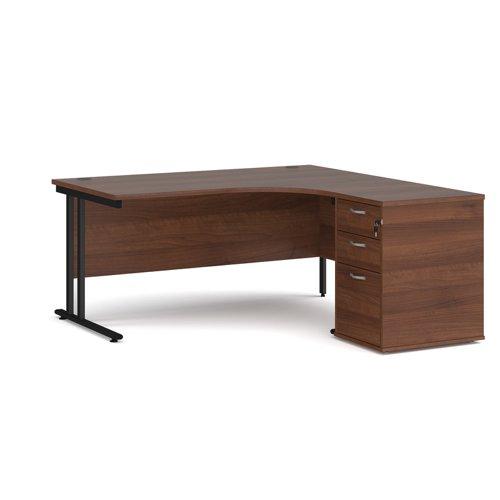 Maestro 25 right hand ergonomic desk 1600mm with black cantilever frame and desk high pedestal - walnut