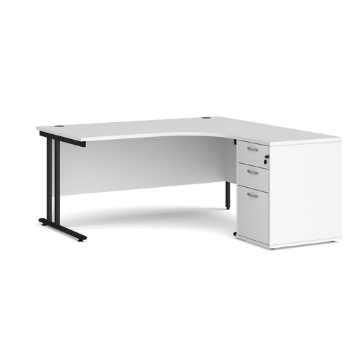 Maestro 25 right hand ergonomic desk 1600mm with black cantilever frame and desk high pedestal - white
