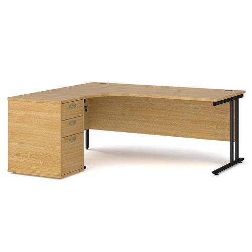 Maestro 25 left hand ergonomic desk 1800mm with black cantilever frame and desk high pedestal - oak