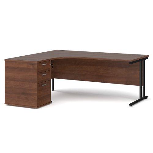 Maestro 25 left hand ergonomic desk 1800mm with black cantilever frame and desk high pedestal - walnut