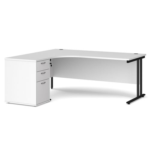 Maestro 25 left hand ergonomic desk 1800mm with black cantilever frame and desk high pedestal - white