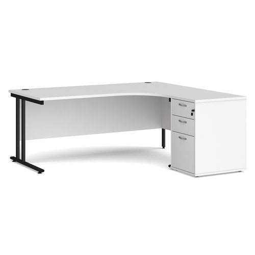 Maestro 25 right hand ergonomic desk 1800mm with black cantilever frame and desk high pedestal - white
