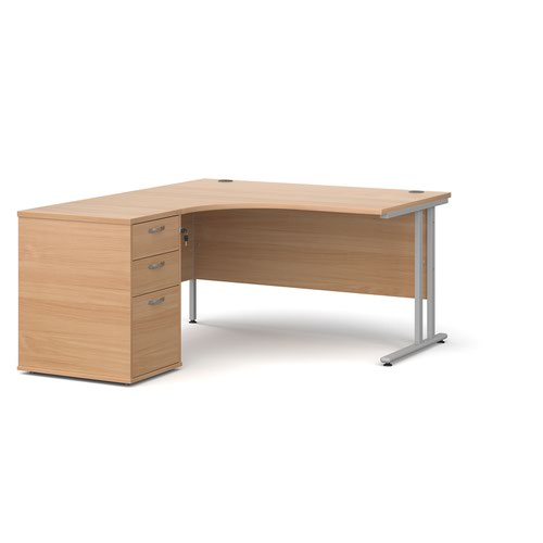 Maestro 25 left hand ergonomic desk 1400mm with silver cantilever frame and desk high pedestal - beech