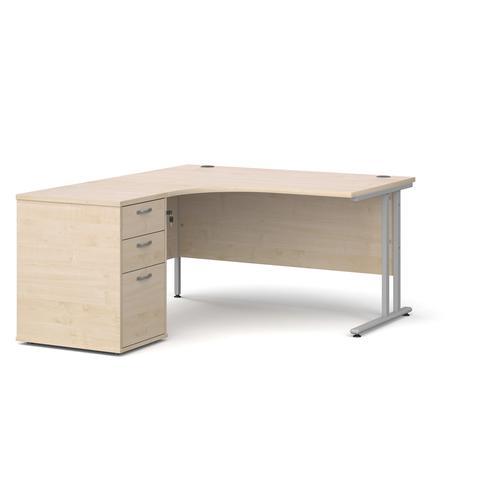 Maestro 25 left hand ergonomic desk 1400mm with silver cantilever frame and desk high pedestal - maple