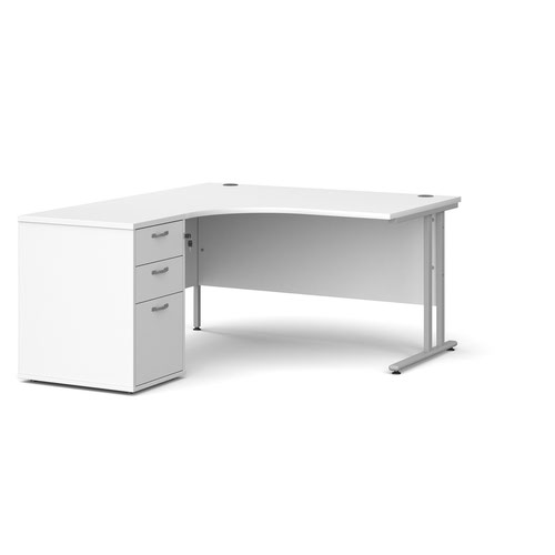 Maestro 25 left hand ergonomic desk 1400mm with silver cantilever frame and desk high pedestal - white