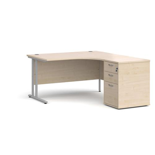 Maestro 25 right hand ergonomic desk 1400mm with silver cantilever frame and desk high pedestal - maple