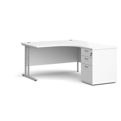 Maestro 25 right hand ergonomic desk 1400mm with silver cantilever frame and desk high pedestal - white