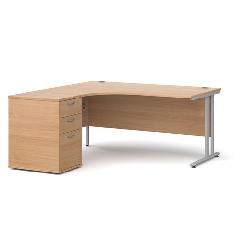 Maestro 25 left hand ergonomic desk 1600mm with silver cantilever frame and desk high pedestal - beech