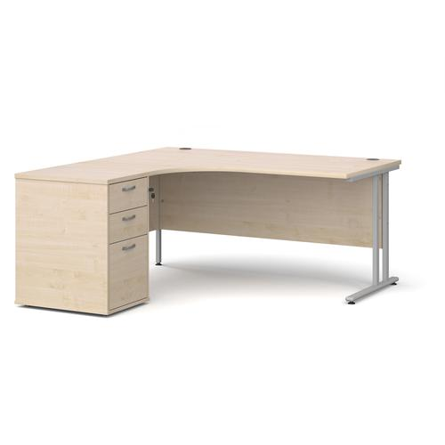 Maestro 25 left hand ergonomic desk 1600mm with silver cantilever frame and desk high pedestal - maple