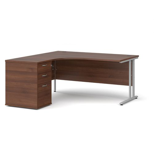 Maestro 25 left hand ergonomic desk 1600mm with silver cantilever frame and desk high pedestal - walnut