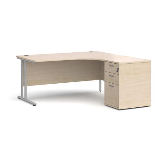 Maestro 25 right hand ergonomic desk 1600mm with silver cantilever frame and desk high pedestal - maple