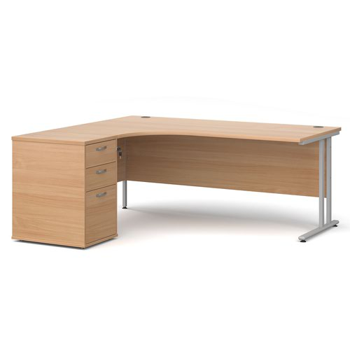 Maestro 25 left hand ergonomic desk 1800mm with silver cantilever frame and desk high pedestal - beech