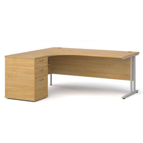 Maestro 25 left hand ergonomic desk 1800mm with silver cantilever frame and desk high pedestal - oak