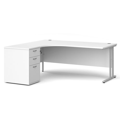 Maestro 25 left hand ergonomic desk 1800mm with silver cantilever frame and desk high pedestal - white