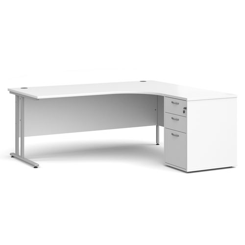 Maestro 25 right hand ergonomic desk 1800mm with silver cantilever frame and desk high pedestal - white