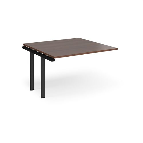 Adapt boardroom table add on unit 1200mm x 1200mm - black frame and walnut top