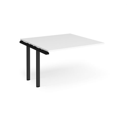 Adapt boardroom table add on unit 1200mm x 1200mm - black frame and white top