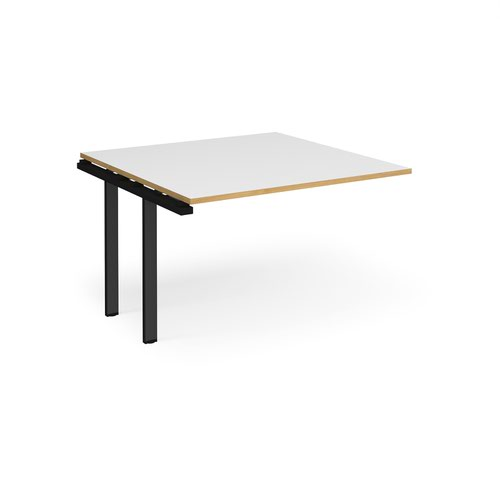 Adapt boardroom table add on unit 1200mm x 1200mm - black frame and white top with oak edging