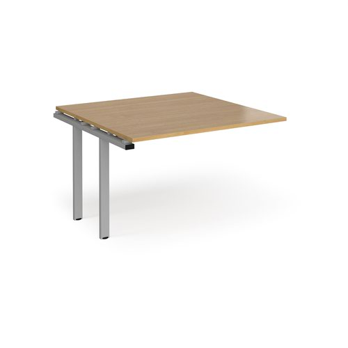 Adapt boardroom table add on unit 1200mm x 1200mm - silver frame and oak top