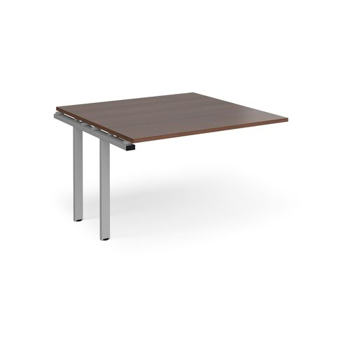 Adapt boardroom table add on unit 1200mm x 1200mm - silver frame and walnut top