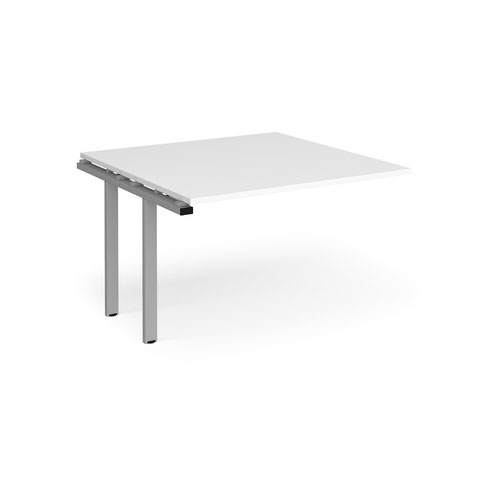 Adapt boardroom table add on unit 1200mm x 1200mm - silver frame and white top
