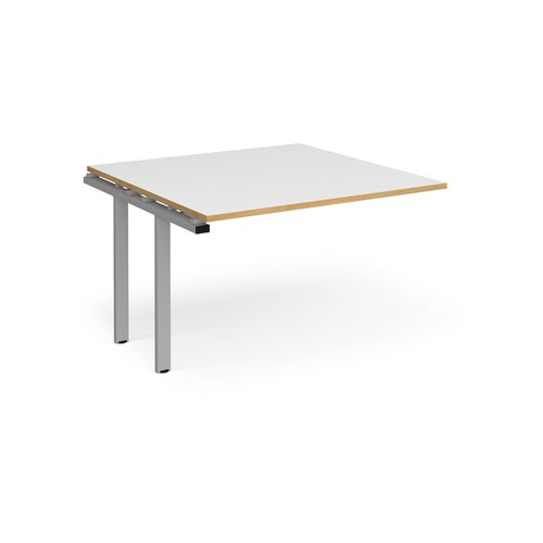 Adapt boardroom table add on unit 1200mm x 1200mm - silver frame and white top with oak edging