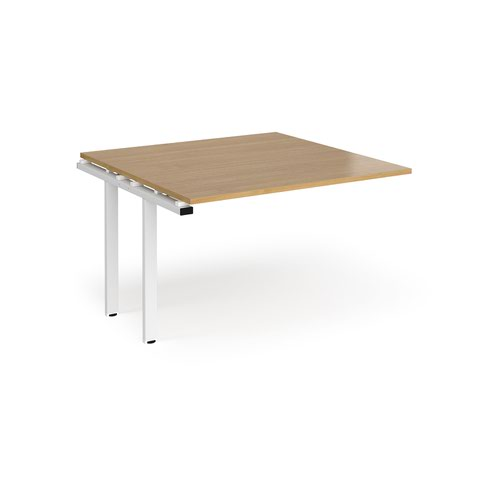 Adapt boardroom table add on unit 1200mm x 1200mm - white frame and oak top