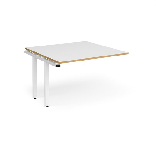 Adapt boardroom table add on unit 1200mm x 1200mm - white frame and white top with oak edging