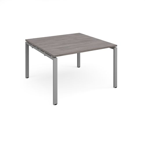 Adapt square boardroom table 1200mm x 1200mm - silver frame and grey oak top
