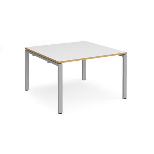 Adapt square boardroom table 1200mm x 1200mm - silver frame and white top with oak edging