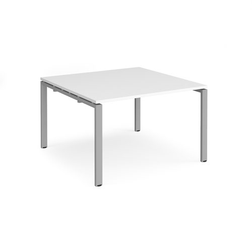 Adapt boardroom table starter unit 1200mm x 1200mm - silver frame and white top