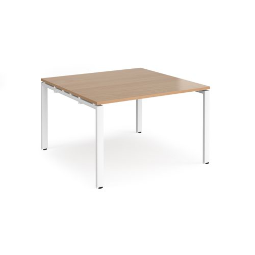 Adapt boardroom table starter unit 1200mm x 1200mm - white frame and beech top
