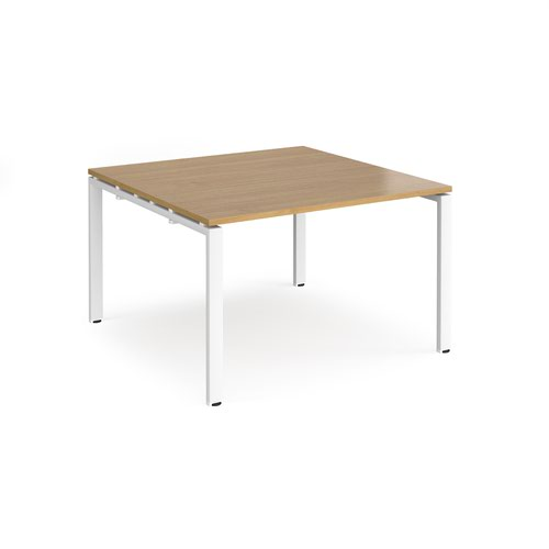 Adapt boardroom table starter unit 1200mm x 1200mm - white frame and oak top