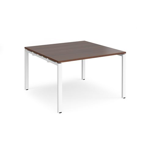 Adapt square boardroom table 1200mm x 1200mm - white frame and walnut top